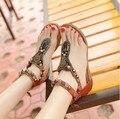 Женские сандалии богемии Молния Национальный стиль vintage плоским вьетнамки плюс размер 40 женщин горный хрусталь студент обувь