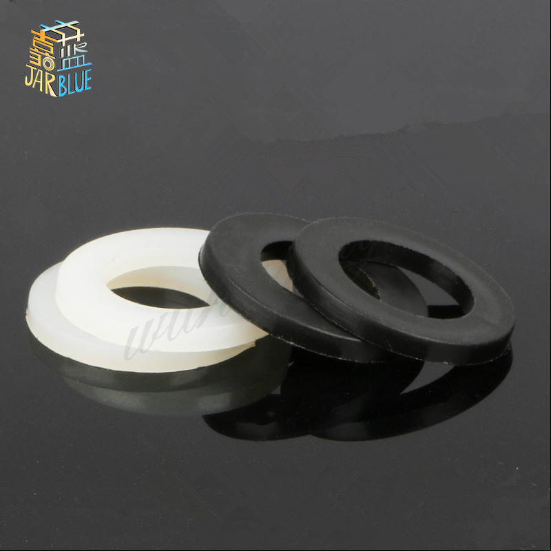 100Pcs DIN125 ISO7089 M2 M2.5 M3 M4 M5 M6 M8 Black or white Plastic Nylon Washer Plated Flat Spacer Washer Seals Gasket Ring