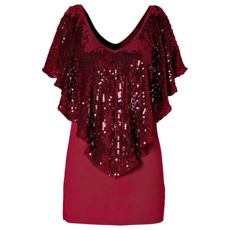 dcf4d2660ba1c0 Beautiful Sequin Womens Ladies Sparkle Glitter Tank Short sleeve Top T Shirt-in  T-Shirts from Women s Clothing   Accessories on Aliexpress.com