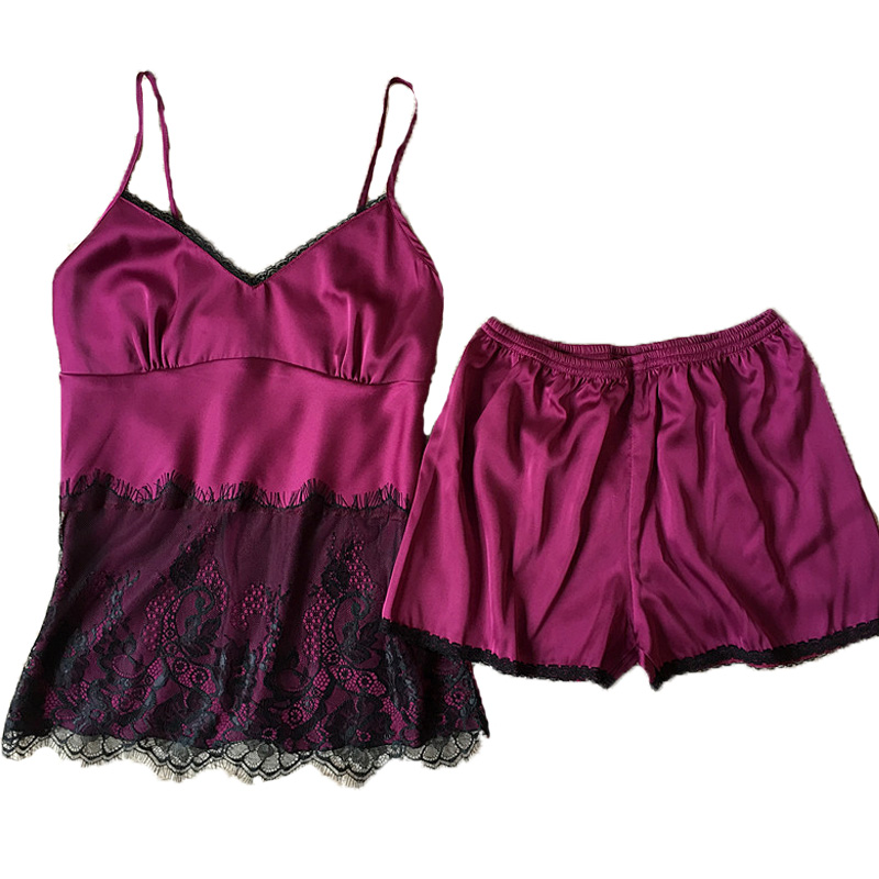 Female Lace   Pajamas     Sets   Free Shipping Satin Silk Nightwear For Women Young Girls Lingerie   Set   Two-Pieces Pijamas   Set   Home Wear