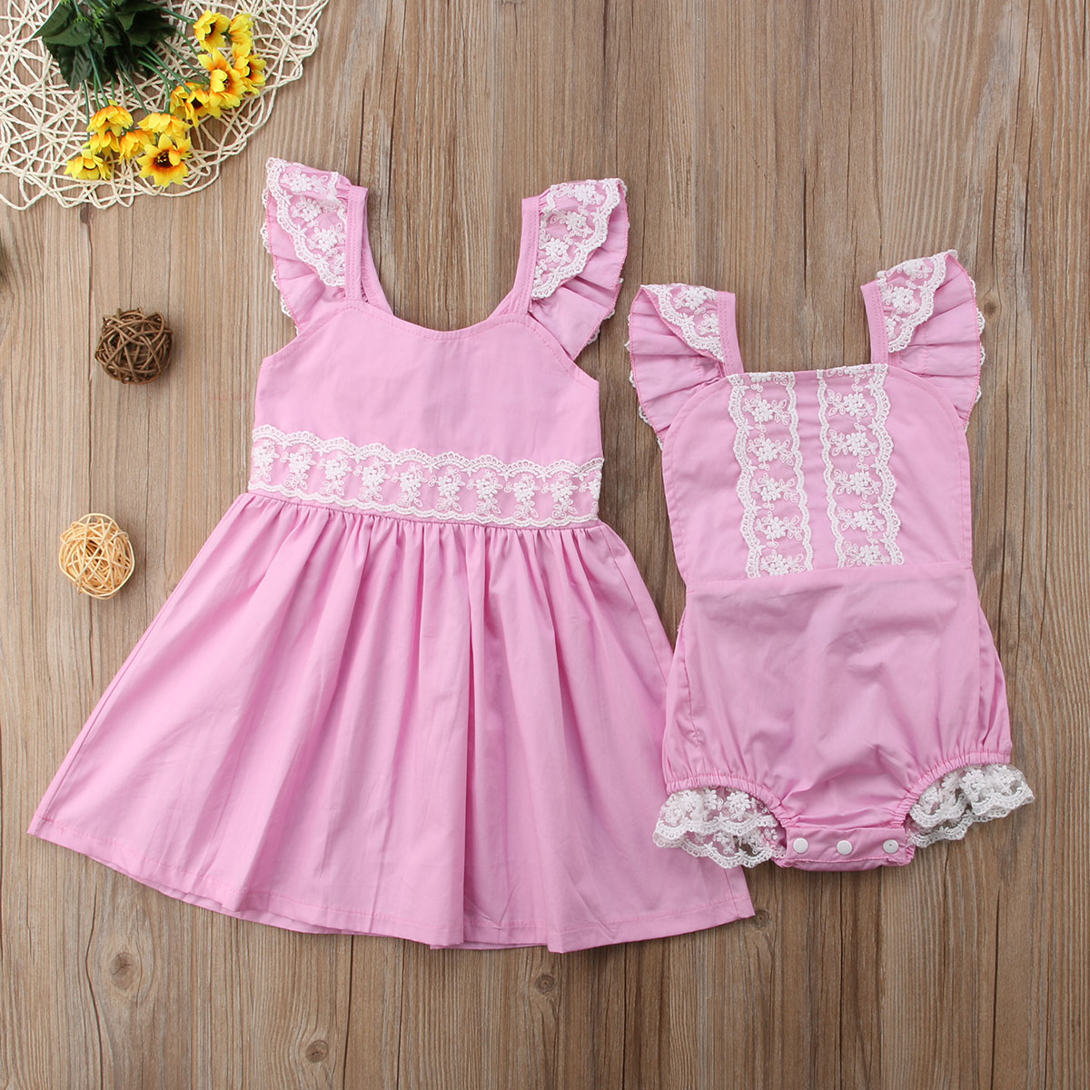 summer kid baby girls sister matching lace clothes romper