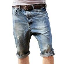 Neue Sommer Männer Casual Loch Jeans Shorts Alle Heiligen Masculina Kurze Hosen Regelmäßige Knielangen Dünne Gerade Jeans-Shorts Plus