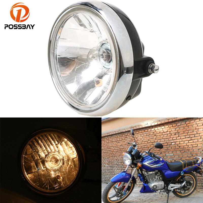 POSSBAY 7''Black Universal Motorcycle Headlight Conversion CB Series Headlight For Suzuki EN125 Harley Honda KTM Cafe Racer ATV