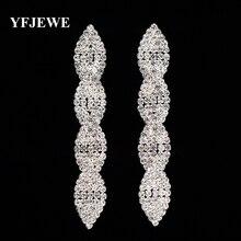 YFJEWE, стиль, серьги для женщин, модные, кристалл, Висячие, длинные серьги для женщин, свадебные украшения, лучший подарок на Рождество E376