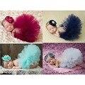 2016 nuevos 4 colores recién nacido Tutu falda con a juego venda de la flor impresionante Newborn apoyo de la foto del tutú de la falda