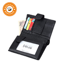 BONAMIE Black Cow Leather Wallet Men Credit Card Holde Purse With Hasp Money Bag Male Brand Genuine Leather Wallets RFID 2019