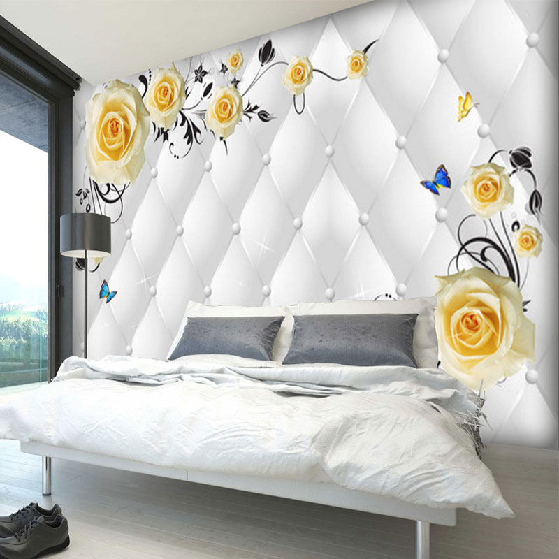 Custom Any Size Photo Background Wallpapers Butterfly Flower Art Wall Covering BedRoom Murals Modern WallPaper Home Decor custom any size modern wall wallpaper eiffel tower arches leaves luxury wall covering bedroom mural background wallpapers