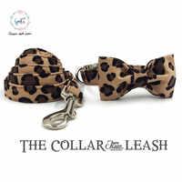 Einzigartige Stil Pfoten Leopard Print Hund Kragen und Blei Set mit Fliege Baumwolle Hund & Katze Halskette und Hund leine