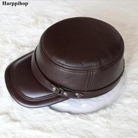 HARPPIHOP Genuine Leather Flat Peak Military Cap Hip Hop Hats Men S Caps Winter Warm