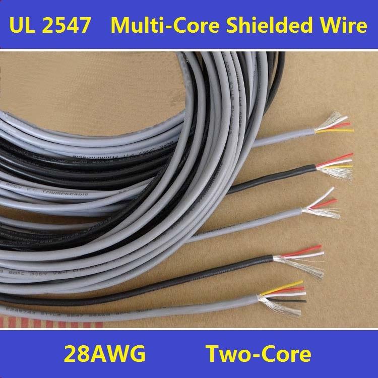 Экранированный 28AWG ПВХ-Изоляцией, 2 Жилы Провода Из Луженой Меди Кабель Многожильных Экранированный Провод UL2547 Бесплатная Доставка-5 М