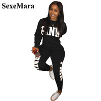 SexeMara Letter Print Two Piece Set Woman Casaul Tracksuit Hoodies Pullover Top And Pants Knitted Sweatshirt