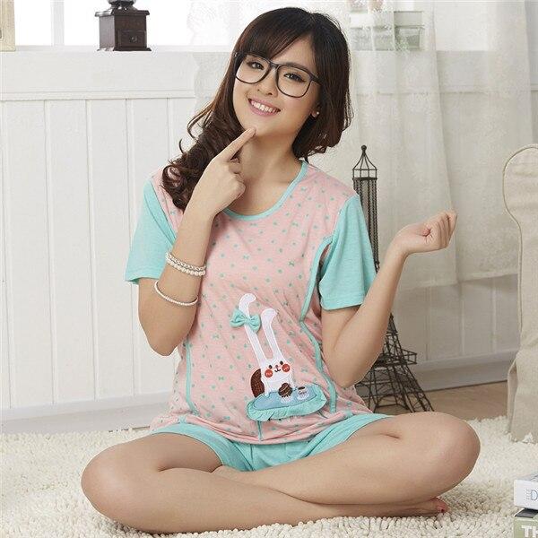 045ba7b45a03 New Nightwear Korean Short Sleeve Pajamas Female Summer Nightshirt Modal Girls  Pyjamas Cartoon Sleepwear Casual Tracksuit D10
