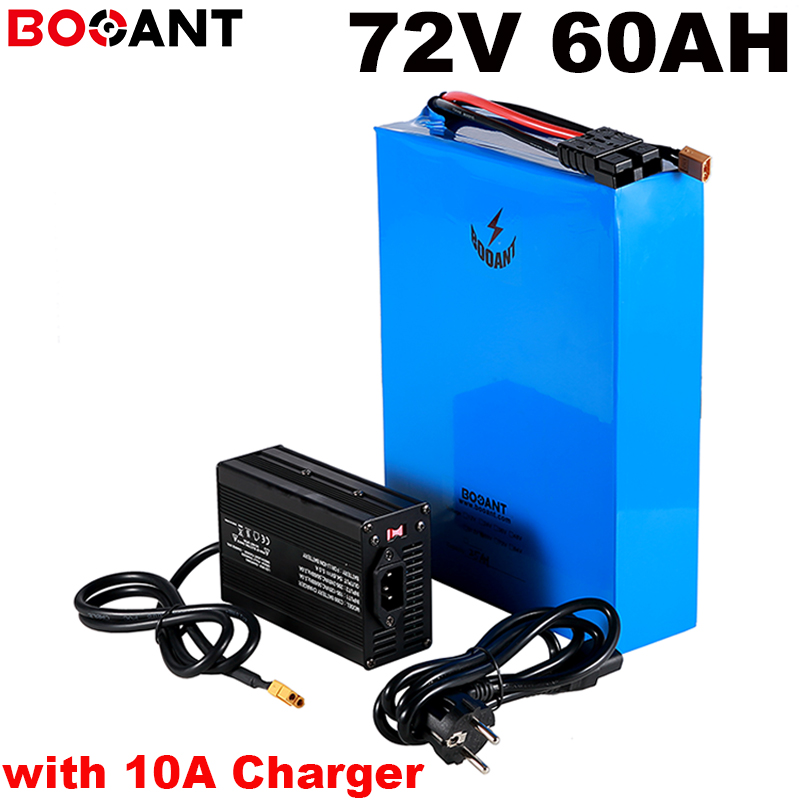 Best lithium <font><b>battery</b></font> pack 20S <font><b>72V</b></font> <font><b>60AH</b></font> electric bicycle <font><b>battery</b></font> powerful 7000W <font><b>72V</b></font> <font><b>battery</b></font> for Sanyo 18650 cell + 10A Charger image