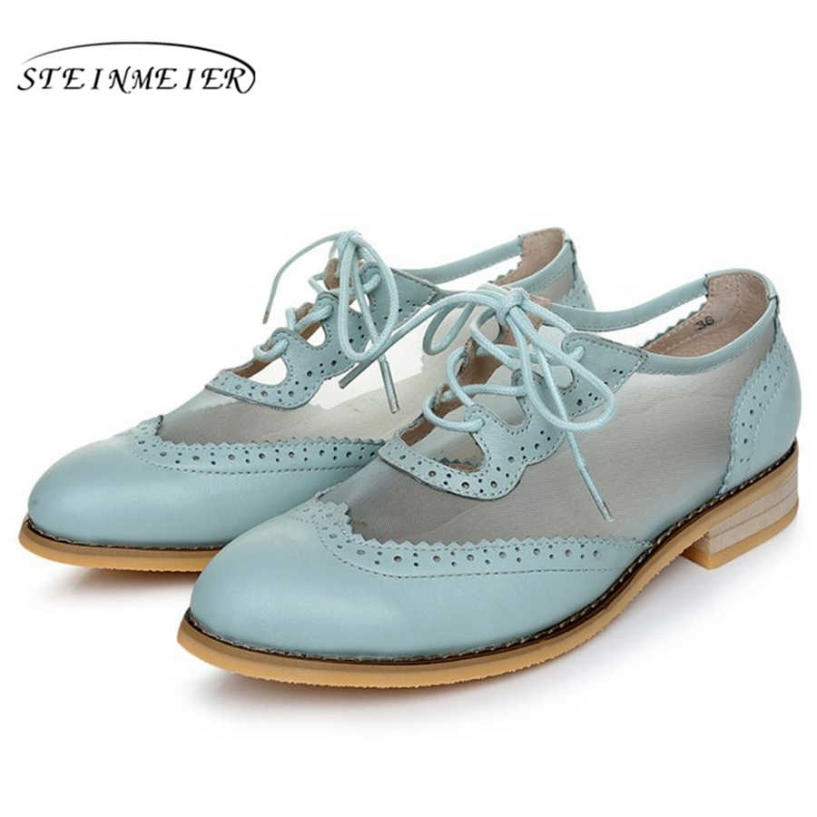 Women flat oxford shoes for women vintage plus size flats Spring oxfords shoes woman loafers genuine leather sneakers 2019