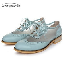 Cow leather big woman US size 11 designer vintage flat shoes round toe handmade white blue 2017 sping oxford for women