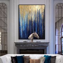 100% Hand Painted Golden Scenery Art Oil Painting On Canvas Wall Adornment Pictures For Live Room Home Decor