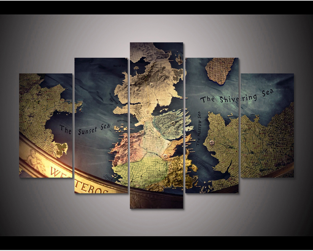 photograph regarding Printable Map of Westeros named US $9.0 5 Piece Revealed Canvas Recreation of Thrones Map of Westeros portray area decor print poster wall artwork WD 1855-in just Portray Calligraphy in opposition to Property