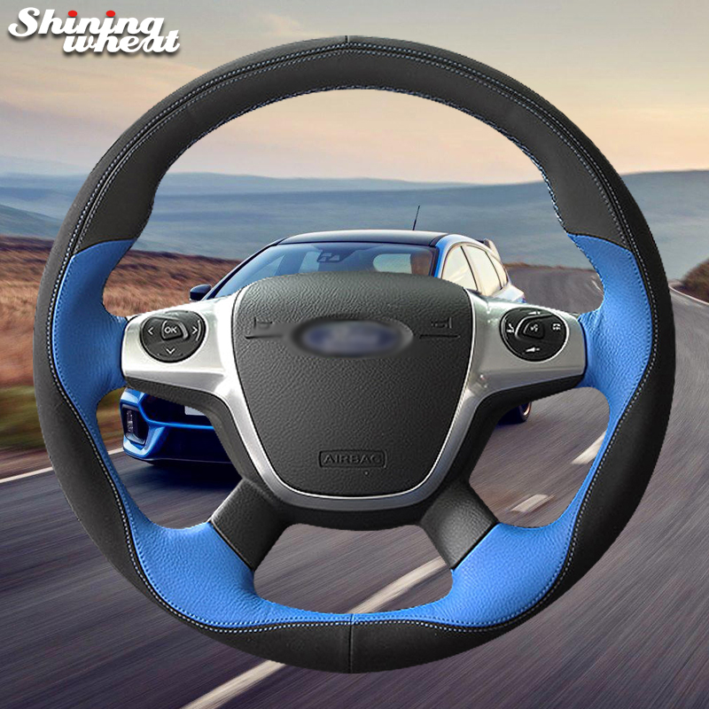 Shining wheat Black Blue Leather Car Steering Wheel Cover for Ford Focus 3 2012-2014 KUGA Escape 2013-2016 C-MAX 2011-2014 велосипед focus black forest 29r 4 0 2014