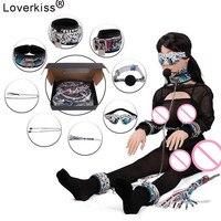 Loverkiss змеиным узором неволи БДСМ комплект Секс-игрушки для Для женщин, воротник наручники кляп кнут секс маска Соски Зажимы