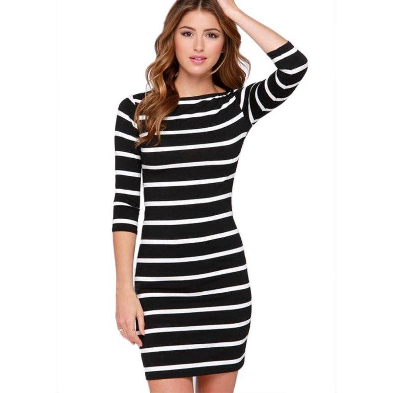 2017 Spring Women Sexy Slimming Wrap Striped Dresses Lady Fashion Clothing Bodycon Dress Vestidos