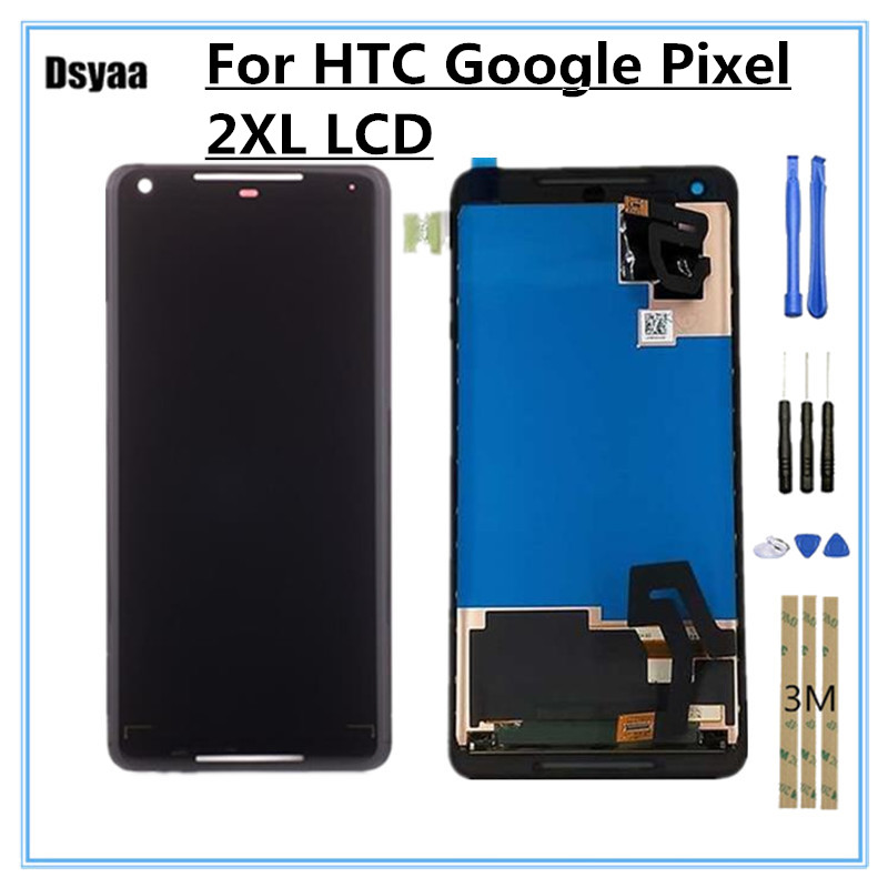 6.0 Inch for HTC Google Pixel 2 XL LCD Display with Touch Screen Digitizer Assembly Replacement for Google Pixel 2 XL Screen