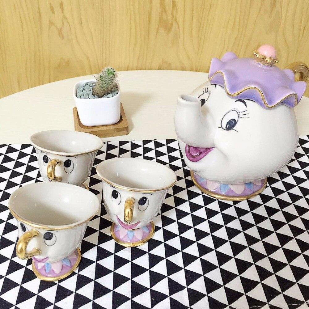 Venda quente Dos Desenhos Animados Beauty And The Beast Copo Pote Conjunto Pote Bule de Chá Definir Mrs Potts Chip Com 3 Copos chaleira de café de Aniversário Presente de Natal