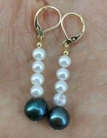 Gold Stunning AAA+ 5 10mm white Black South Sea PEARL EARRING