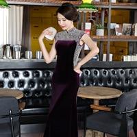 Purple Women Handmade Nail Bead Velvet Chinese Dress High Quality Long Qipao Novelty Mandarin Collar New