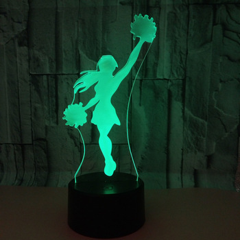 Cheerleading 3D Night Light Acrylic USB Colorful Remote Touch Atmosphere Lamp Baby Bedroom Light  Desk Table Lamp Creative Gift