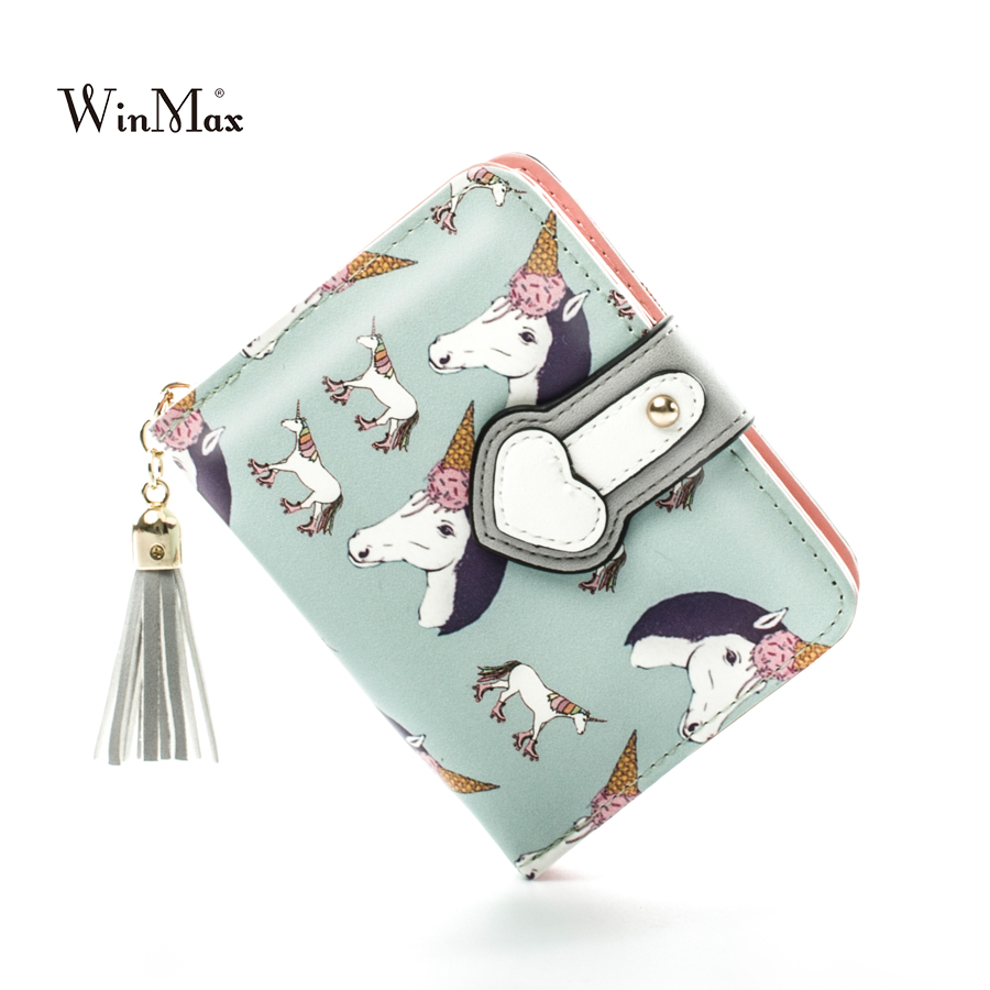 Wanita Jenis Pendek HASP Dompet Tangan Kartun Unicorn Percetakan Lembut PU Kulit Wallet Purse Purba Ladies Clutch Coin Purse Card