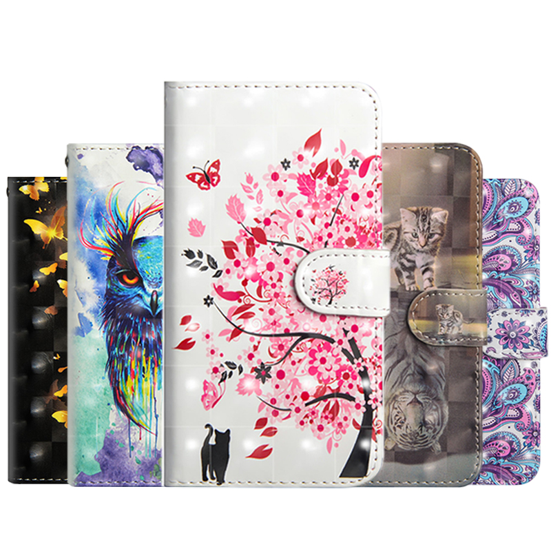 Phone Case For Xiaomi Redmi Note 4 4X 5 5A 6 6A Pro Plus S2 Y2 5Plus Cover For Xiaomi <font><b>Mi</b></font> 8 5X 6X A1 A2 F1 <font><b>Max2</b></font> 3D Painted Wallet image