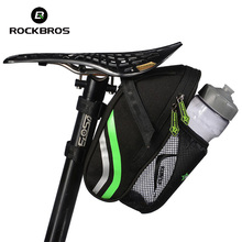Rockbros MTB Road Bike Bag Reflective With Water Bottle Pocket Bicycle Saddle Bag Rear Seat Seatpost Bag Cycling Bag Accessories