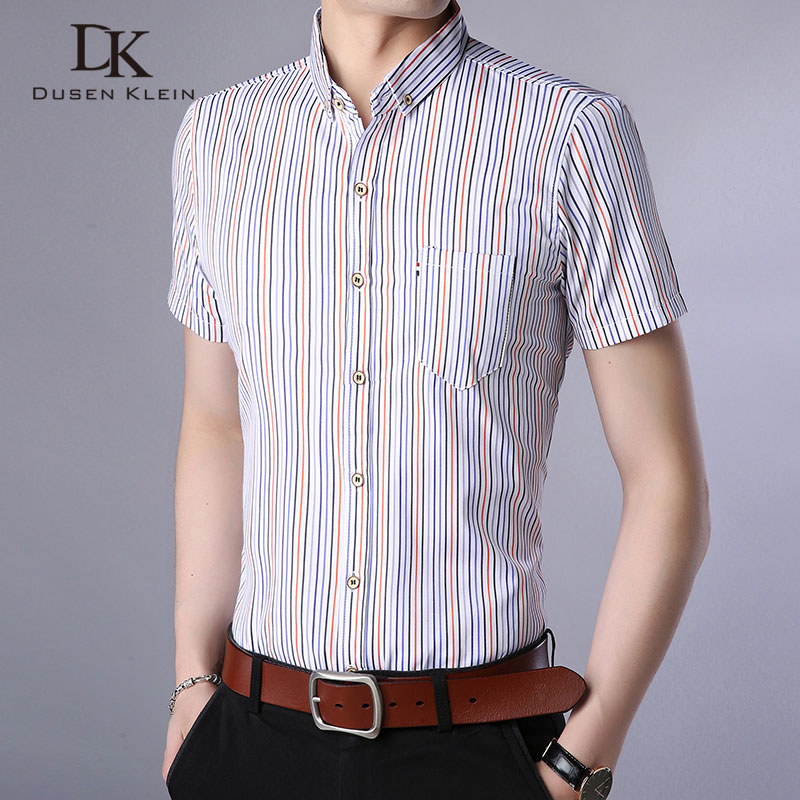 New Men Short Shrits men Sleeve Shirt Strip Business and Casual Shirt Man Clothes Fashio ...