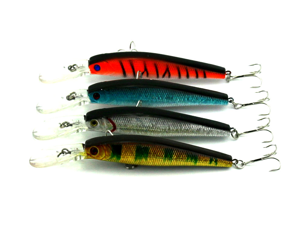 HENGJIA 10Pcs Artificial Plastic Bait Deep Diving Minnow Fishing Lures Tackel Hooks Bass Baits 14g 12.5cm 2.7-4.5m