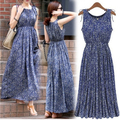 ZANZEA 2017 Women Summer Long Dress Blue Floral O neck Sleeveless Boho Beach Party Maxi Dresses Plus Size Vestidos