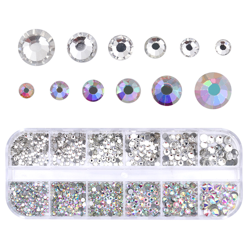 1 Box AB Color Nail Art Crystal Rhinestone Clear Flat Back Multi-size Manicure DIY Tips Glitter Designs Nail Art 3D Decoration 1 pack mixed size crystal ab colorful nail art rhinestones flat back 3d glass nail glitter decorations diy manicure accessories