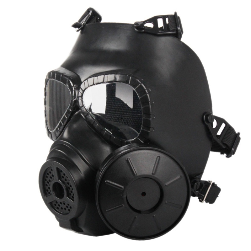 TPU Double Filter Gas Mask High Intensity Helmet CS Paintball Military Tactical Army Perspiration Face Guard Mask With Fan kryte sandały na platformie