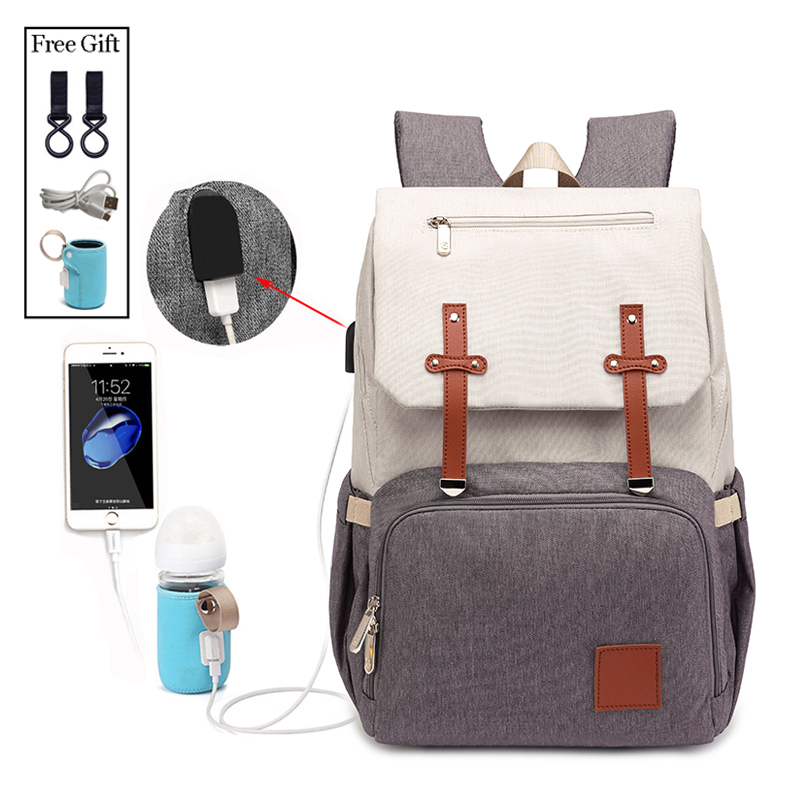 New Fashion With USB Mummy Daddy Diaper Bag Pure Large Waterproof Nursing Bag Travel Backpack Stroller