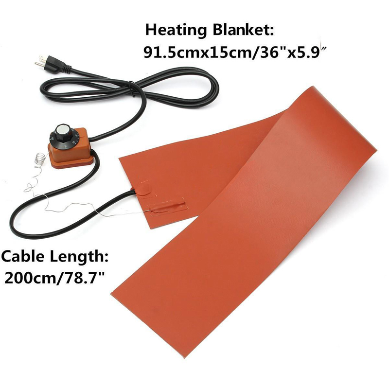 5.9 X 36 Silicone Heating Pad Thermal Blanket Guitar Side Bending Heater 220V 1200W Heated Blanket with Temp Control Mayitr dia 400mm 900w 120v 3m ntc 100k round tank silicone heater huge 3d printer build plate heated bed electric heating plate element