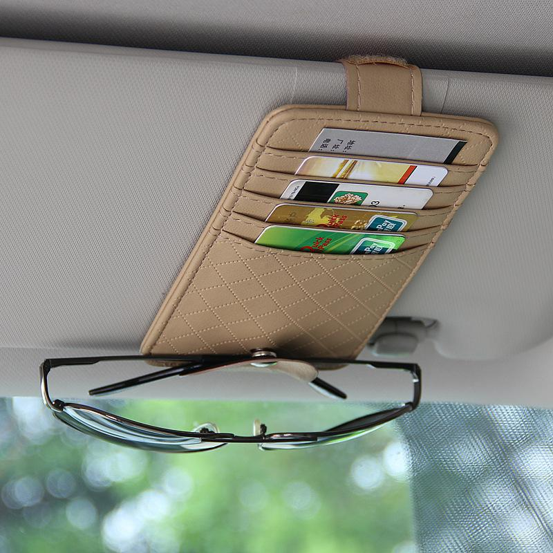 Car PU Multifunctional Sun Visor Sunglasses Card Holder Clip Organizer Pouch Bag Storage