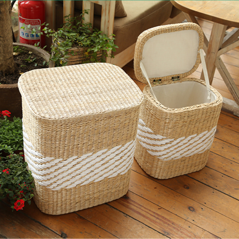 Wood stand wicker rattan storage baskets organizador organizer for clothes rangement maquillage wicker laundry basket with lid