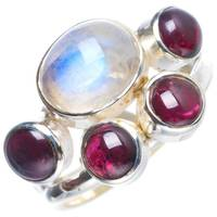 Natural Rainbow Moonstone and Amethyst Handmade Unique 925 Sterling Silver Ring 6.25 Y4242