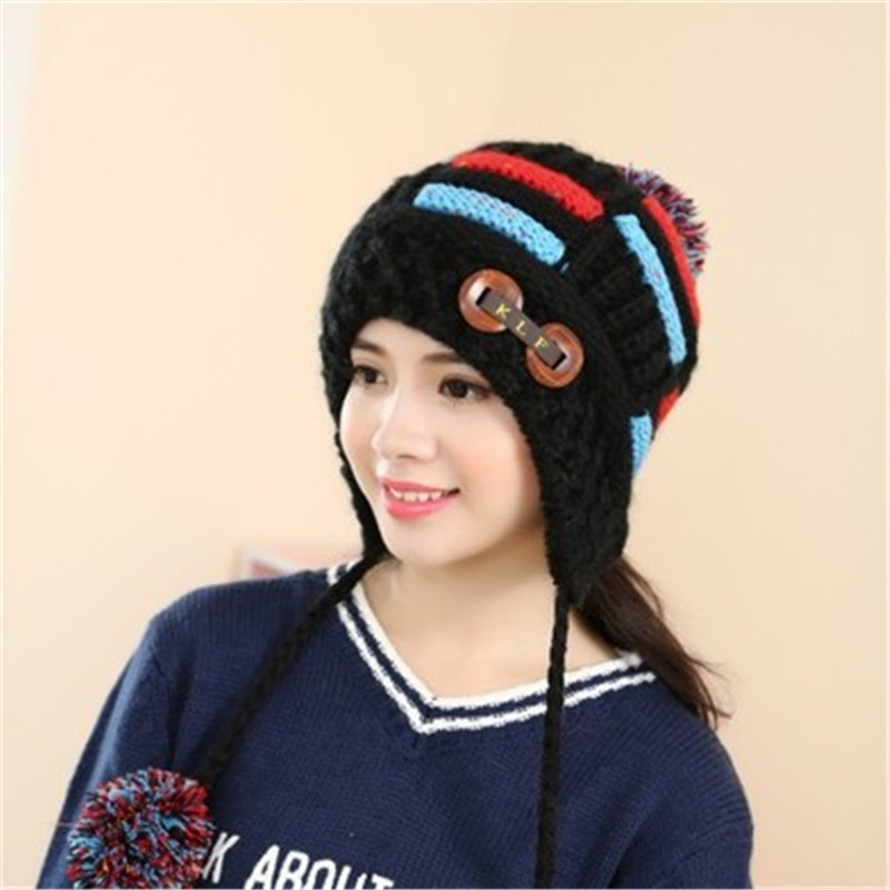 Elegant Beautiful Bar Women's Caps Bonnet Beanies Knitted Hat Skullie Hat Female Warm Windproof Girl Protect the Ears Warm Cap beautiful darkness