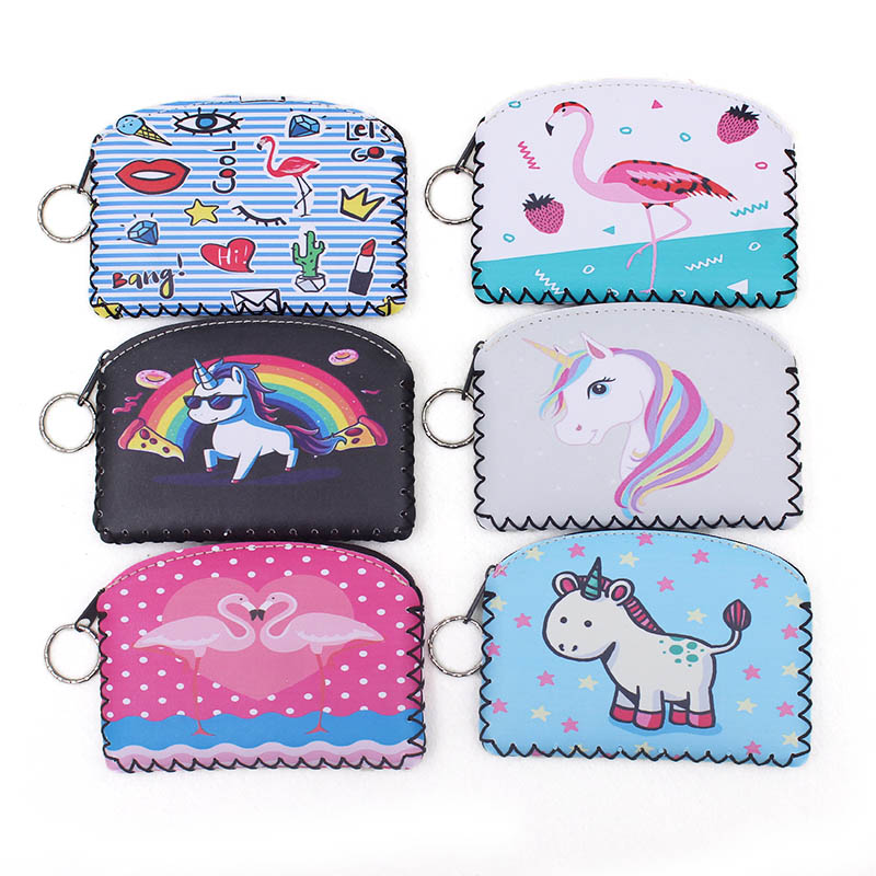 N Graffiti Flamingo Unicorn coin purse Change Purse Card Holder Handmade Hem Wallet Purse Women Clutch Zipper Coin Bag Pouch ...