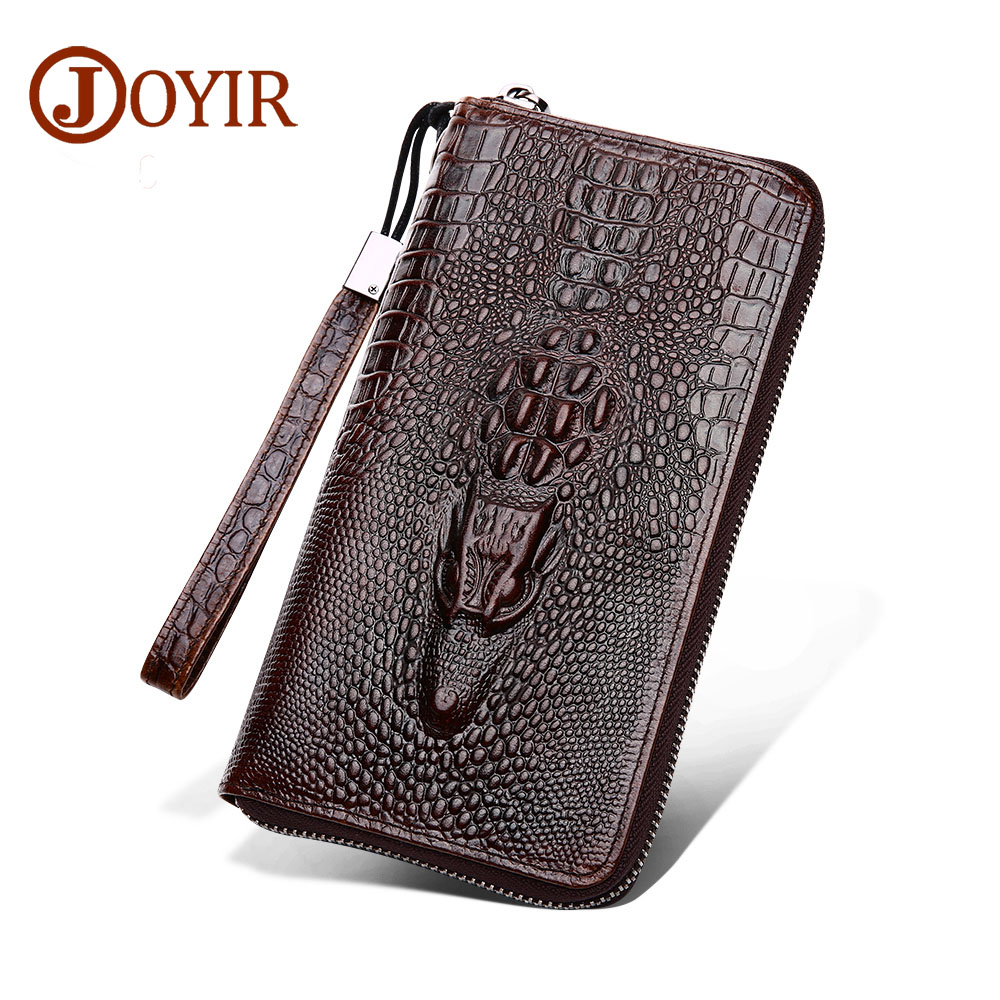 цена на JOYIR Genuine Leather Alligator Men Wallet Long Zipper Purse Vintage Money Card Holder Phone Bag Clutch for Male Man HandBag 529