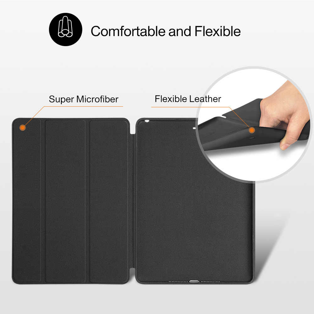 Funda para iPad Mini 4 3 2 1 PU de cuero de silicona suave trasera Trifold Stand Sleep Smart Cover para iPad Mini 2 5 2019 Funda