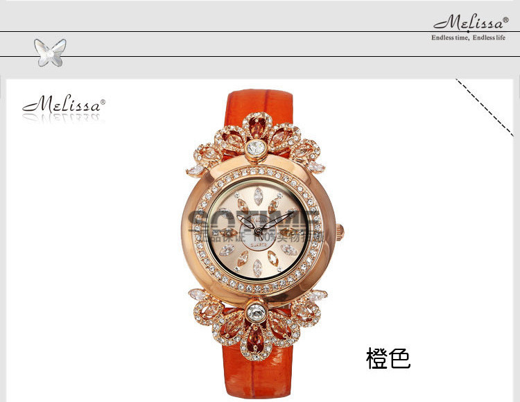 Luxury Vintage Palace Style Women Rhinestone Watches MELISSA Romantic Flower Dress Wrist watch Quartz Analog Clock Montre femme