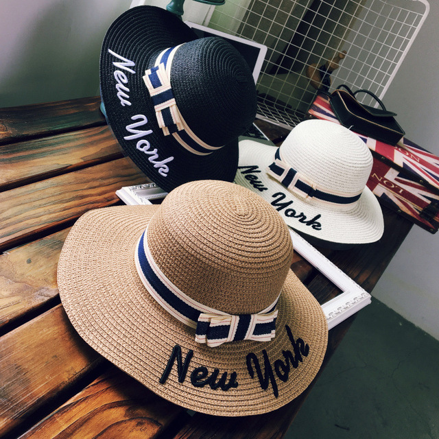 fd352112 Women Beach Sun Hat 2018 Spring Summer New Hot Fashion Female Casual Bow  Sunscreen Letters Straw