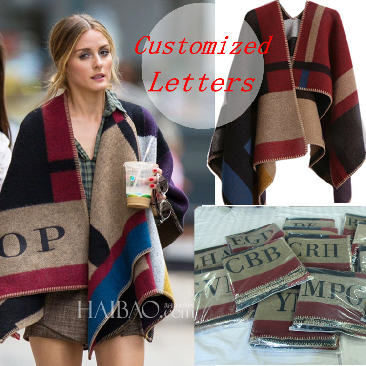Brand Women Poncho Cashmere Wool Scarf Monogramed Poncho Cape Plaid Winter Check Blanket Poncho bufanda manta 2018 Christmas-in Women's Scarves from Apparel Accessories