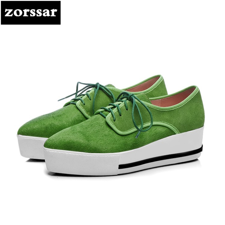 {Zorssar} 2018 NEW Fashion horsehair female shoes High heels Leisure Lace-up Pointed toe Wedges shoes pumps women platform shoes zorssar brand 2018 new womens creepers shoes heels casual wedges high heels pumps shoes fashion suede women platform shoes